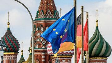 Флаг Европейского Союза на Красной площади в Москве