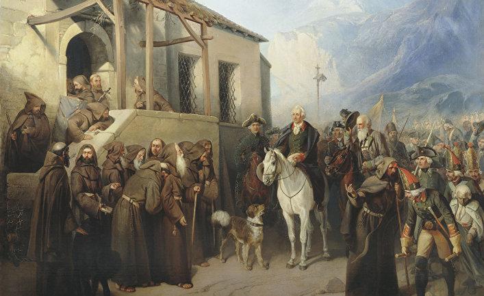 Фельдмаршал Суворов на вершине Сен-Готарда 13 сентября 1799 года