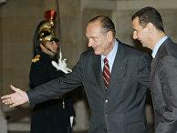 Президент Франции Жак Ширак и президент Сирии Башар Асад во время встречи в Париже в 2002 году