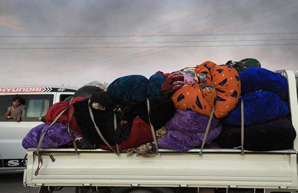 Беженцы в городе Рас-Аль-Айн, Сирия