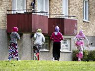 Женщина-мигрант из Сомали в городе Флен, Швеция