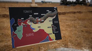 Карта операции Турции в Сирии для телевизионной трансляции в Акчакале