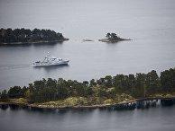 19 октября 2014. Шведский минный тральщик HMS Koster во время поисков иностранной подводной лодки в стокгольмских шхерах