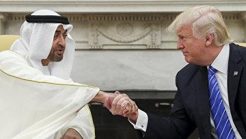 Президент США Дональд Трамп пожимает руку наследному принцу Абу-Даби шейху Мухаммеду бен Зайду Аль Нахайяну