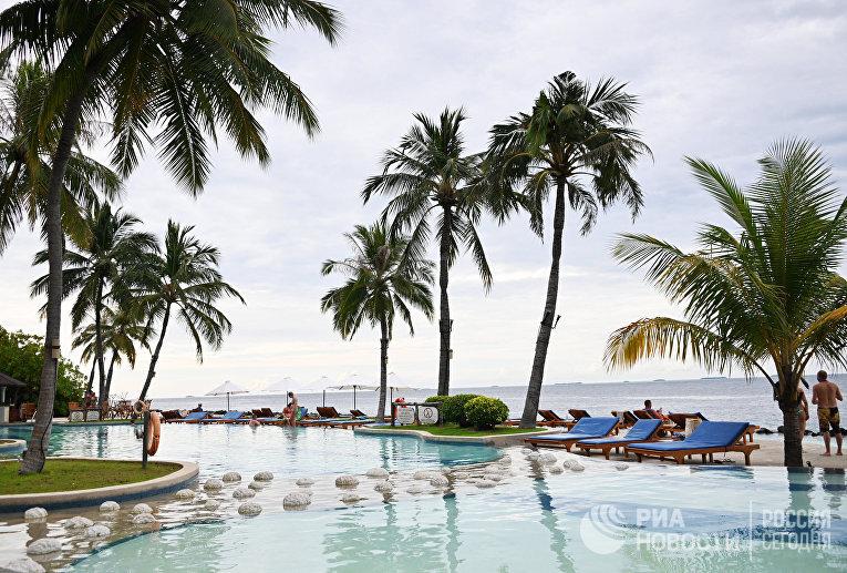 Пляж на одном из Мальдивских островов