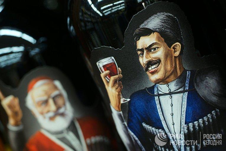Грузинские вина на полке супермаркета