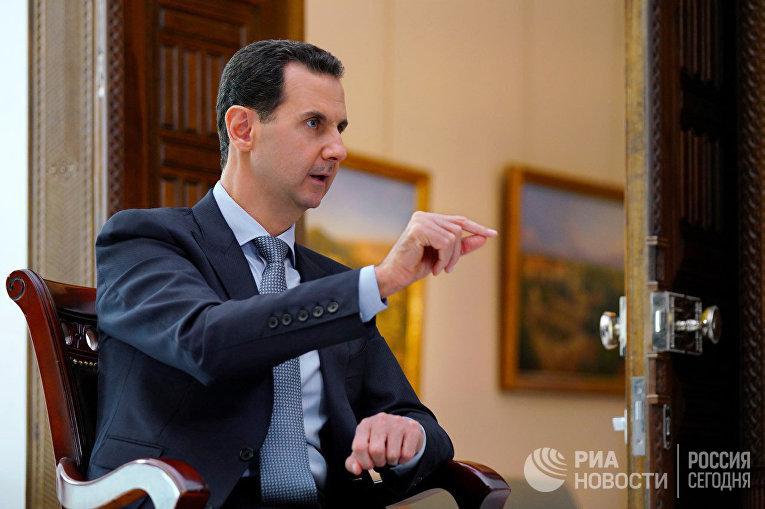 "Президент Сирии Башар Асад дал интервью РИА Новости и телеканалу ""Россия 24"""