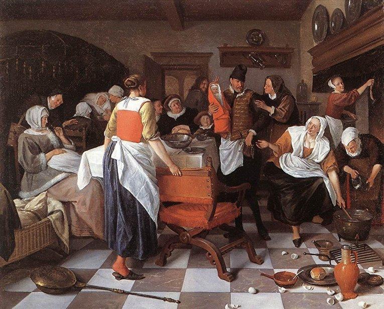 """Картина """"Празднование рождения"""" нидерландского художника Яна Стена"""