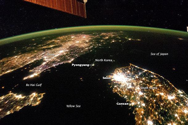 Космический снимок Китая, Северной и Южной Кореи