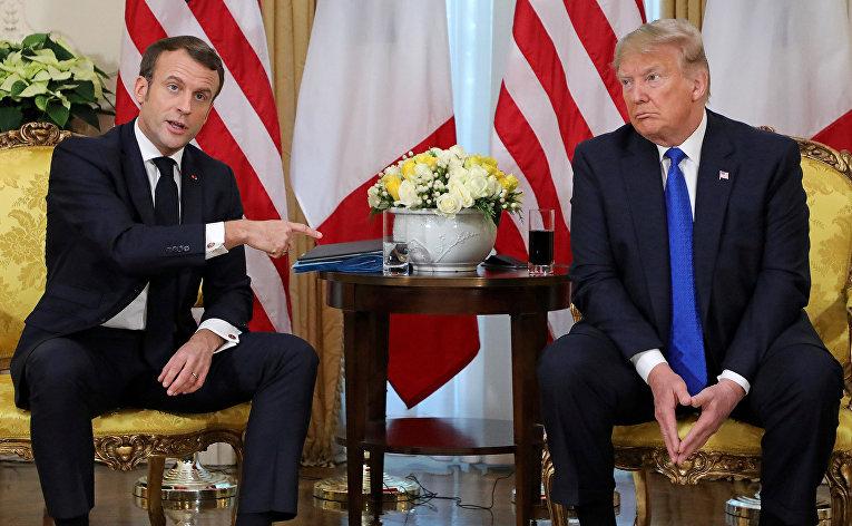 Президент Франции Эммануэль Макрон во время встречи с президентом США Дональдом Трампом в преддверии саммита НАТО в Уотфорде, Великобритания