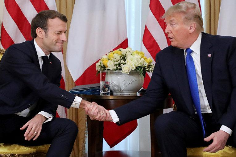 Президент Франции Эммануэль Макрон во время встречи с президентом США Дональдом Трампом