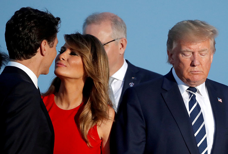 Мелания Трамп, Джастин Трюдо и Дональд Трамп на саммите G7 в Биаррице, Франция