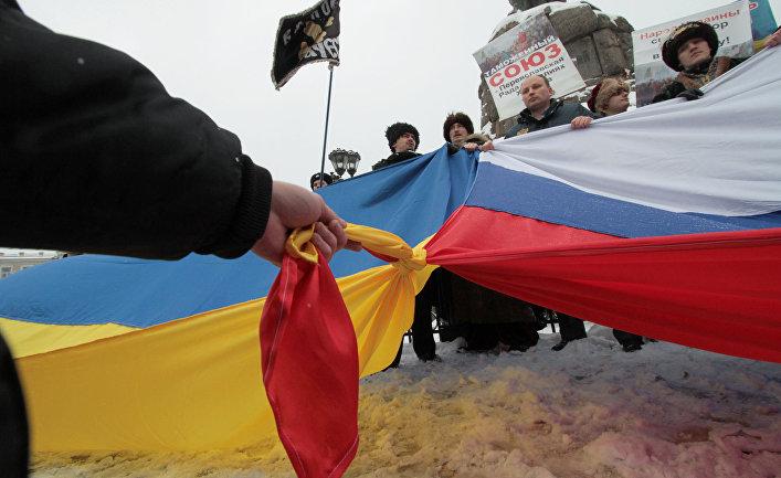 Участники акция «Переяславская Рада вчера - это Таможенный союз сегодня!» в Киеве