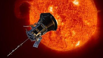 Официальный рендер автоматического космического аппарата НАСА для изучения внешней короны Солнца Parker Solar Probe