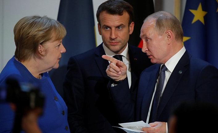 10 декабря 2019. Ангела Меркель, Эммануэль Макрон и Владимир Путин на саммите в Париже