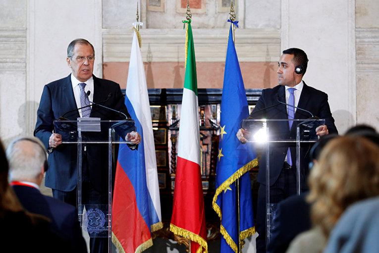 Сергей Лавров и глава МИД Италии Луиджи ди Майо на пресс-конференции в Риме