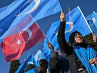 Сторонники уйгуров во время демонстрации в Стамбуле, Турция.