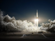 Иллюстрация старта ракеты Falcon Heavy компании SpaceX
