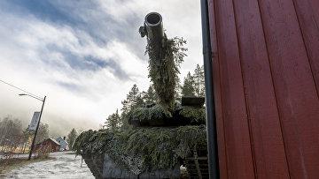 Замаскированный танк научениях НАТО «Единый трезубец», вкоторых также участвовали вооруженные силы Швеции иФинляндии