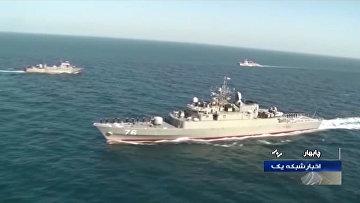 """Фрегат ВМС Ирана """"Джамаран"""" во время совместных военно-морских учений Ирана, России и Китая"""