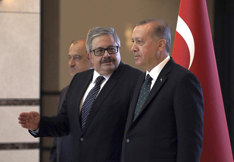Президент Турции Реджеп Тайип Эрдоган и  посол России в Турции Алексей Ерхов в Анкаре, Турция