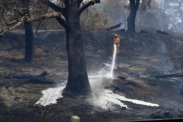 Пожарный в пригороде Мельбурна, Австралия