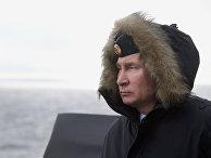 Владимир Путин наблюдает за ходом совместных учений Северного и Черноморского флотов в Черном море