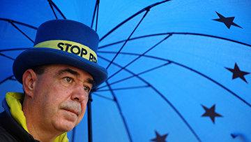 Активист движения против Брексита Стив Брей у здания парламента в Лондоне