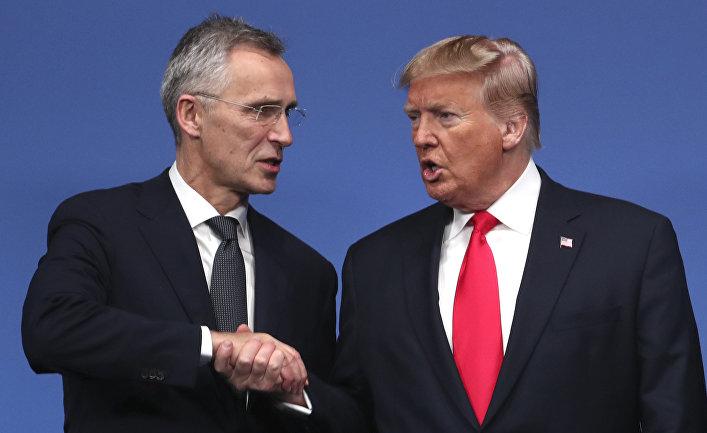 Генеральный секретарь НАТО Йенс Столтенберг и президент США Дональд Трам на встречи лидеров НАТО в Уотфорде