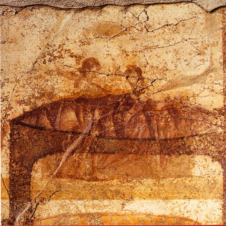 Сцена фрески, изображающей варианты полового акта. Парочка в постели.