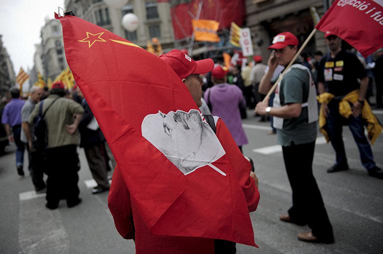 Первомайская демонстрация в Барселоне, Испания