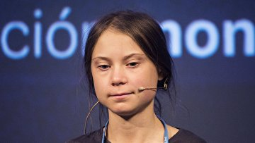 Грета Тунберг на пресс-конференции