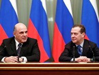Встреча премьер-министра РФ М. Мишустина и заместителя председателя Совета безопасности РФ Д. Медведева в Доме правительства РФ