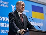 Президент Турции Тайип Эрдоган выступает в Киеве