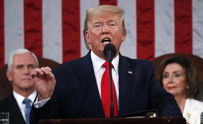 Президент США Дональд Трамп выступает в конгрессе с обращением к нации в Вашингтоне
