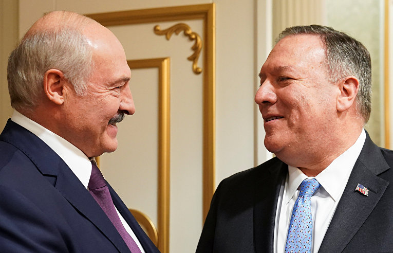 Президент Беларуси Александр Лукашенко и госсекретарь США Майк Помпео