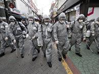 Солдаты в защитных костюмах распыляют дезинфицирующее средство в Сеуле, Южная Корея