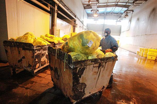 Медицинские отходы на пункте переработки в Янчжоу, Китай