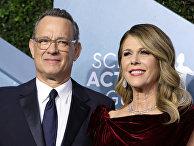 Американский актер Том Хэнкс и его жена Рита Уилсон
