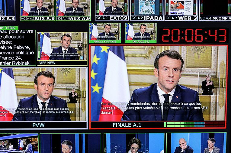 Президент Франции Эммануэль Макрон делает заявление по поводу коронавируса