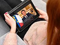 Президент Франции Эммануэль Макрон во время телевизионного обращения к нации 16 марта 2020 года