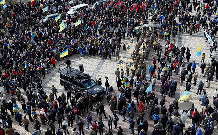 Участники акции протеста в Киеве, Украина
