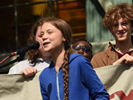 Митинг с участием экоактивистки Греты Тунберг в США