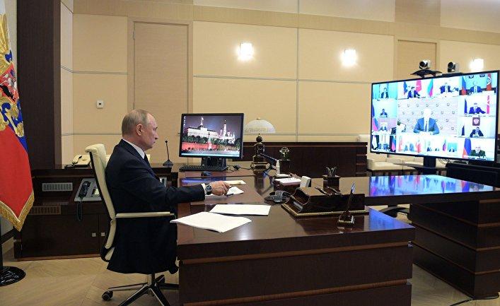 Президент РФ В. Путин в режиме видеоконференции провел совещание с руководителями субъектов РФ