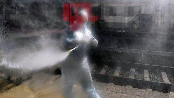 Дезинфекция железнодорожного вокзала в Красноярске