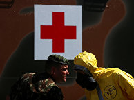 Участники демонстрации техники борьбы с коронавирусом в Рио-де-Жанейро, Бразили