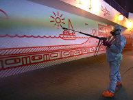 Дезинфекция станции метро в Варшаве, Польша