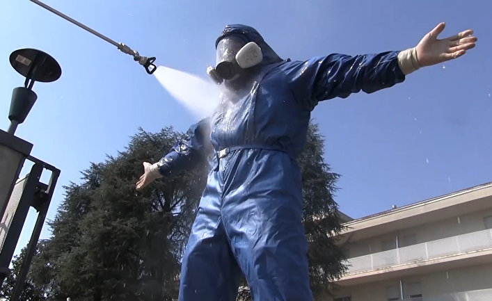 Дезинфекция военными специалистами РФ лечебных учреждений в Италии