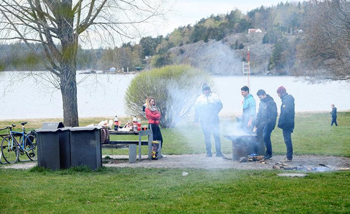 25 апреля 2020. Шведы жарят шашлыки на озере Мэларен к юго-востоку от Стокгольма