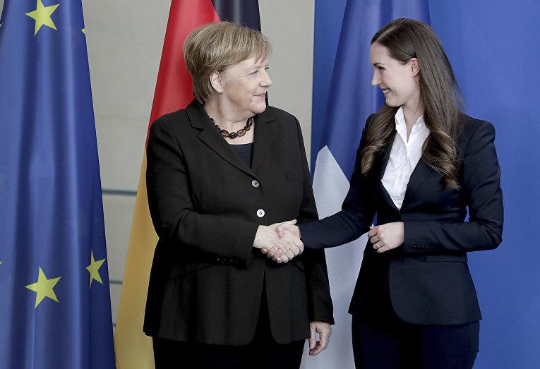 Канцлер Германии Ангела Меркель и премьер-министр Финляндии Санна Марин